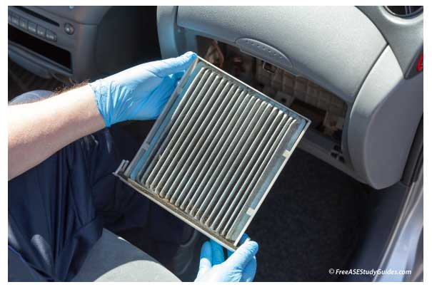 Replacing the cabin air filter in a passenger vehicle.