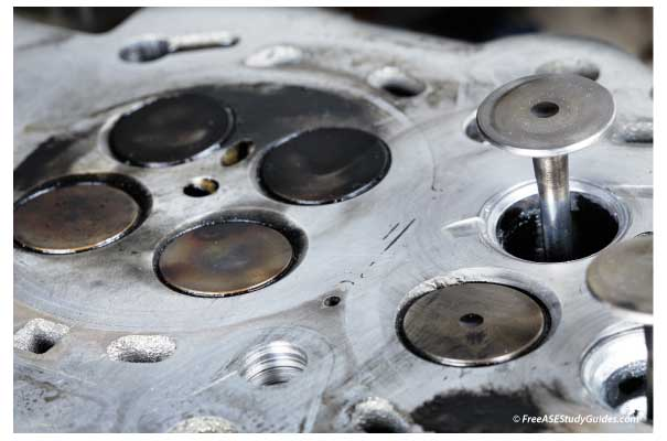 Cylinder head valves and valve seats.