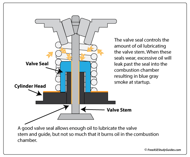 Blue/Gray Exhaust: Leaking Valve Seals