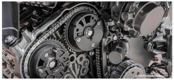 Engine's VVT valve timing chain and sprockets.