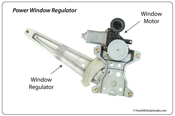 Automotive power window motor and regulator.